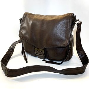 BANANA REPUBLIC SANDHURST BROWN LEATHER SADDLE BAG